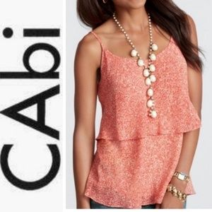 CAbi Floral Tiered Red Tank Top